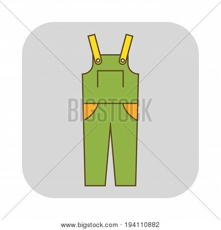 Coverall, protective clothing. Flat icon and object for design. Illustration