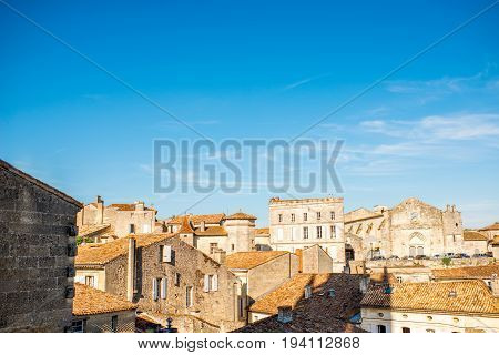 Beautiful cityscape view on Saint Emilion village in Bordeaux region during the sunset in France