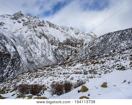 Winter view of high mountain in Sichuan China