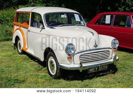 Llangollen Wales UK - July 1 2017: Morris Minor 1000 Traveller a classic British shooting brake car built from 1948 to 1972 with it's traditional wooden frame at a vintage vehicle rally
