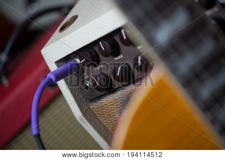 Guitar amplifier with jack cable, Music Shop, France