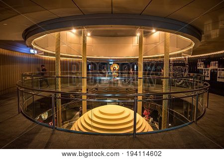 TAIPEI TAIWAN - FEBRUARY 14 2017 : Tuned mass damper of Taipei 101 a harmonic absorber mounted in structures to reduce the amplitude of mechanical vibrations seen from 89th observatory floor.