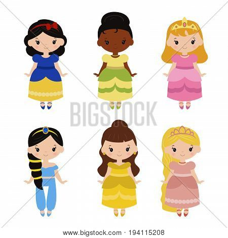 Cute collection of beautiful princesses. White background.
