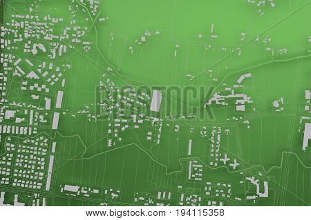 green cartography map city top view. 3d rendering