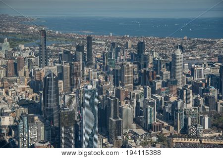 MELBOURNE AUSTRALIA - JULY 16 2016 : Aerial view of Modern building in Melbourne city Melbourne is the capital and most populous city in the Australian state of Victoria Australia