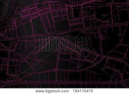 dark Topography map city top view. 3d rendering