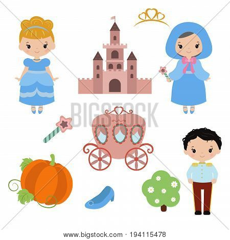 Cute beautiful princess. Cinderella vector illustration on white background. poster