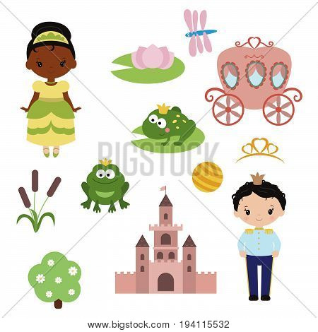 Cute beautiful princess. Princess theme with castle, frog prince, carriage