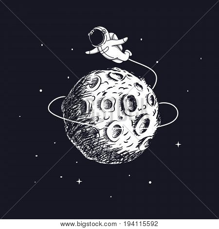 Astronaut flying around the Moon.Hand drawn childish vector illustration.Prints design for kids wear or t-shirts