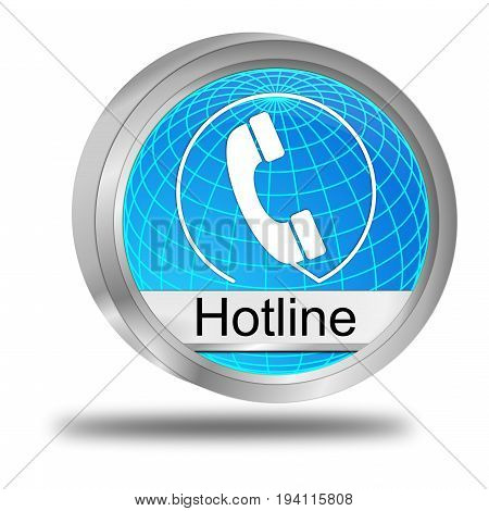 glossy blue Hotline Button - 3D illustration