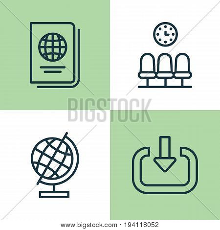 Travel Icons Set. Collection Of Seats, Enter, World Sphere And Other Elements. Also Includes Symbols Such As Globe, Citizenship, Sphere.