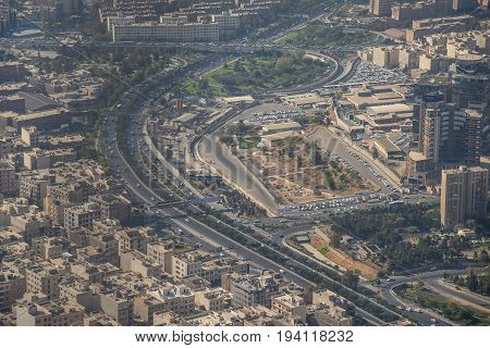 Aerial view of building and urban street in Tehran capital city of Iran