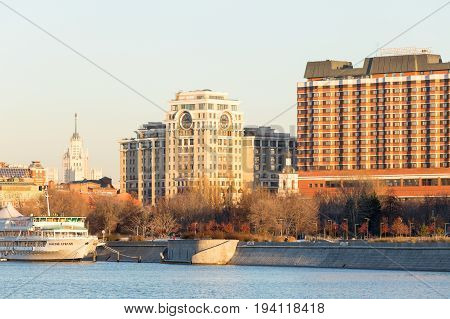 Moscow Russia - November 22, 2016: Panorama of one of the central districts of Moscow: Moskva River pleasure boat the Crimean embankment and park