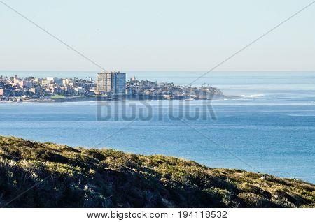 San Diego cityscape skyline coast coastline from Torrey Pines overlook in California