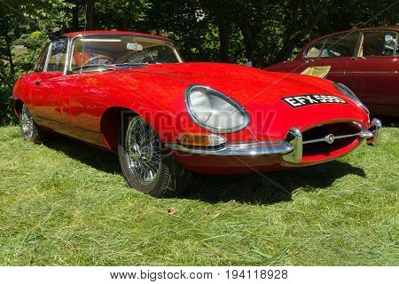 Llangollen Wales UK - July 1 2017: Jaguar E type an iconic classic British sports car built from 1961 and 1975 at a vintage vehicle rally