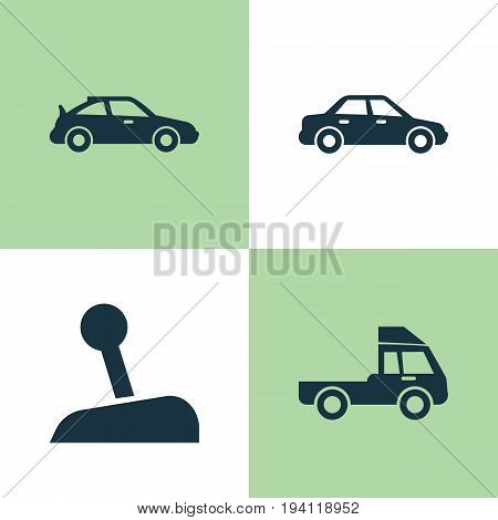 Car Icons Set. Collection Of Automobile, Stick, Crossover And Other Elements. Also Includes Symbols Such As Lorry, Sports, Automobile.