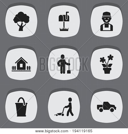 Set Of 9 Editable Agriculture Icons. Includes Symbols Such As Digger Human, Home With Fence, Van And More. Can Be Used For Web, Mobile, UI And Infographic Design.