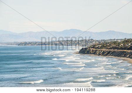 La Jolla San Diego cityscape skyline coast coastline from Torrey Pines overlook in California