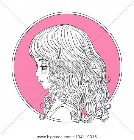 A young beautiful girl.  Monochrome portrait in circle on a pink background. Stock line vector illustration.
