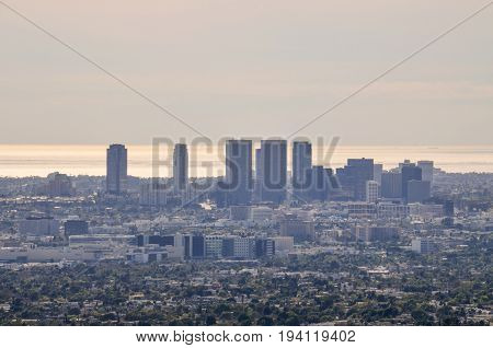 Los Angeles USA - March 9 2014: Cityscape or skyline of the LA city with smog during sunrise or sunset