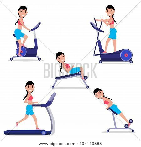 Vector illustration set of cartoon girl doing sports on a simulator. Isolated white background. The woman is engaged in fitness on the training equipment. Flat style. Weight Loss training apparatus.