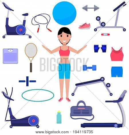 Vector illustration of a cartoon girl with various sports equipment. Isolated white background. A set of sportswear for women. Equipment for fitness. Flat style.