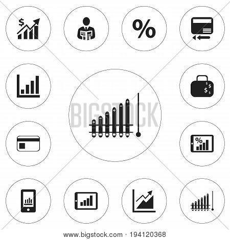 Set Of 12 Editable Analytics Icons. Includes Symbols Such As Progress, Credit Card, Bar Chart And More. Can Be Used For Web, Mobile, UI And Infographic Design.