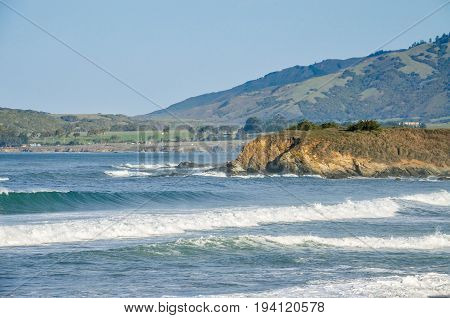 Central California Coast With Beach, Cliffs And Blue Ocean In Big Sur