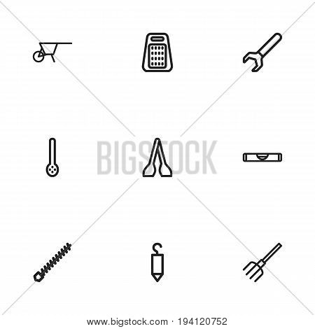 Set Of 9 Editable Apparatus Icons. Includes Symbols Such As Balance, Spanner, Kitchen Spoon And More. Can Be Used For Web, Mobile, UI And Infographic Design.