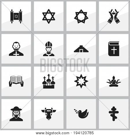 Set Of 16 Editable Faith Icons. Includes Symbols Such As Religious Sewn, Holy Bull, Candlestick. Can Be Used For Web, Mobile, UI And Infographic Design.