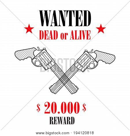 Vintage wanted western poster with blank space for criminal photo. Vector wanted banner, wanted retro message illustration.
