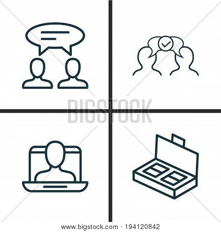 Business Icons Set. Collection Of Cooperation, Document Suitcase, Social Profile And Other Elements. Also Includes Symbols Such As Cooperation, Business, Discussion.