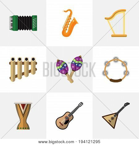 Set Of 9 Editable Music Icons. Includes Symbols Such As Timbrel, Zither, Beanbag And More. Can Be Used For Web, Mobile, UI And Infographic Design.