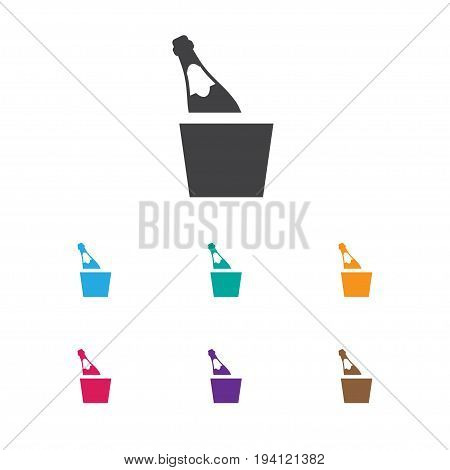Vector Illustration Of Casino Symbol On Champagne Icon. Premium Quality Isolated Bottle In Bucket Element In Trendy Flat Style.