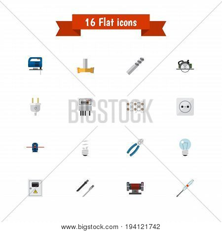 Set Of 16 Editable Electrical Icons. Includes Symbols Such As Turn-Screw, Electric, Buzzsaw And More. Can Be Used For Web, Mobile, UI And Infographic Design.