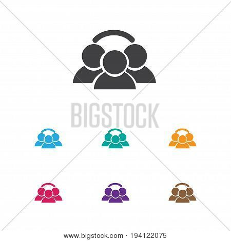 Vector Illustration Of Business Symbol On Group Icon. Premium Quality Isolated Unity Element In Trendy Flat Style.