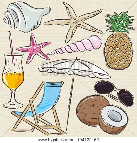 Set of summer symbols clams shells cocktail starfish umbrella lounge fruit on a beige grunge background vector illustration.