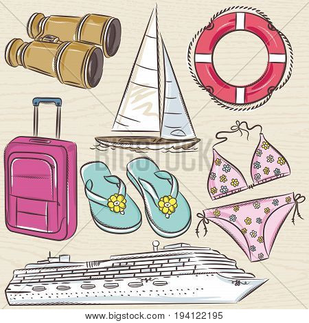 Set of summer symbols cruise ship boat suitcase swim suit flip flops on a beige grunge background vector illustration.