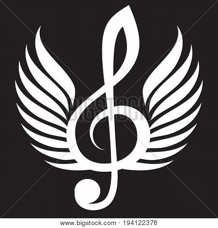 White treble clef with wings. Vector illustration.