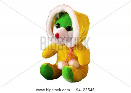 Soft Plush Colored Toy On A White Background
