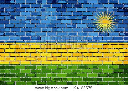 Flag of Rwanda on a brick wall - Illustration,  Rwanda flag on brick textured background,  Abstract grunge mosaic vector