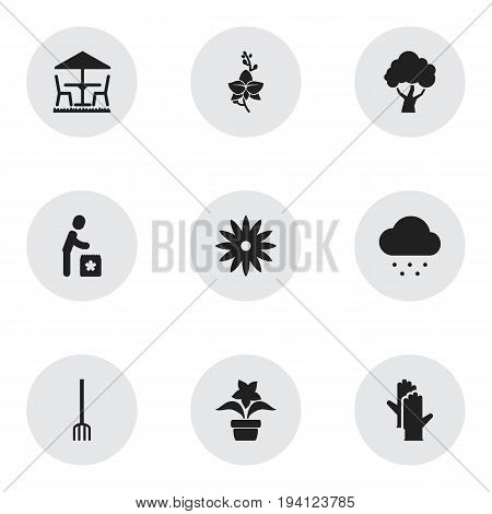 Set Of 9 Editable Agriculture Icons. Includes Symbols Such As Plant Pot, Working Gloves, Garden Seat And More. Can Be Used For Web, Mobile, UI And Infographic Design.