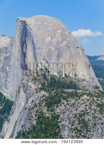 Aerial view of landscape during summer in Yosemite National Park with many pine trees and El Capitan half dome mountain