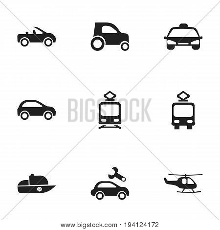 Set Of 9 Editable Transportation Icons. Includes Symbols Such As Tramcar, Vessel, Hatchback And More. Can Be Used For Web, Mobile, UI And Infographic Design.
