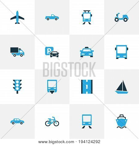 Shipment Colorful Icons Set. Collection Of Parking, Autobus, Tanker And Other Elements. Also Includes Symbols Such As Tanker, Parking, Traffic.