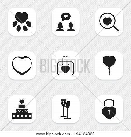 Set Of 9 Editable Heart Icons. Includes Symbols Such As Matrimony, Handbag, Loupe. Can Be Used For Web, Mobile, UI And Infographic Design.