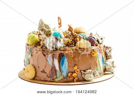 Chocolate Cream Cake With Colorful Decoration