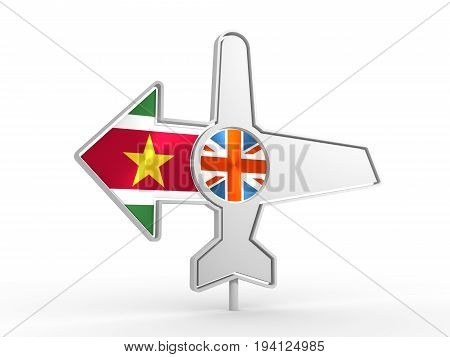 Emblem design for airlines, airplane tickets, travel agencies. Airplane icon and destination arrow. Flags of the Great Britain and Suriname. 3D rendering