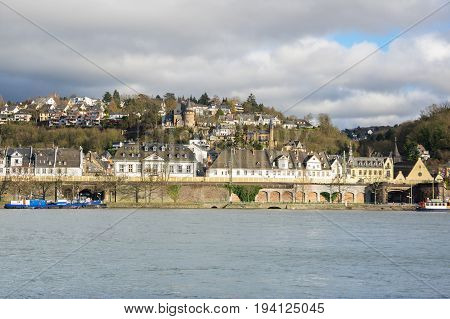 Embankment of Koblenz a city situated on both banks of the Rhine at its confluence with the Moselle Germany