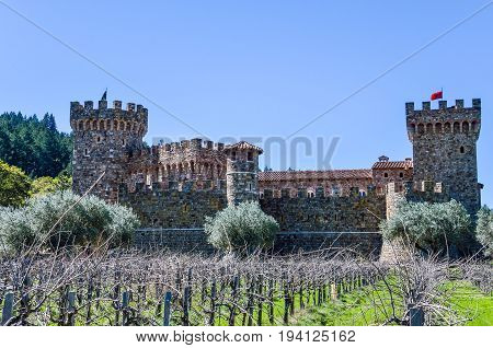 Napa USA - March 12 2014: Napa Valley vineyard castle called Castello Di Amorosa in California with grapevine rows